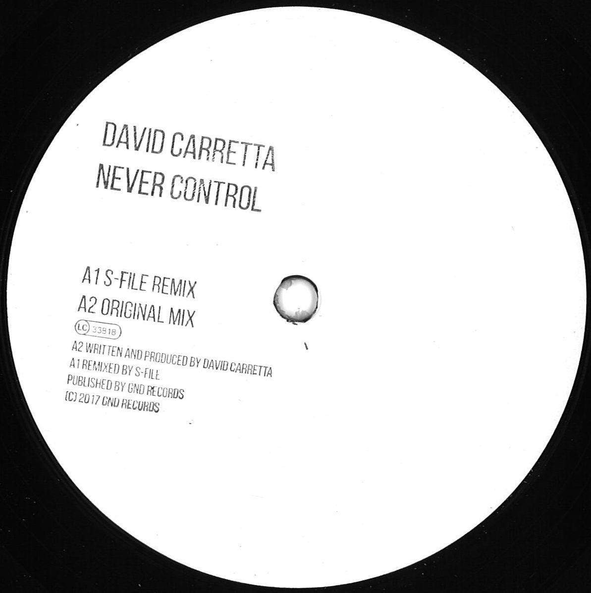 Deejay.de Vinyl Alert – David Carretta – Never Control